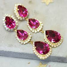 hollywood regency hot pink chandelier earrings view larger