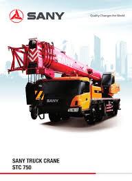 Sany Truck Crane Stc 750 Sany Pdf Catalogs Technical