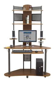 Compact Corner Desk Amazoncom Arch Tower Pewter Teak Kitchen Dining
