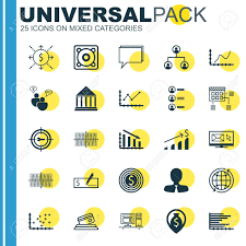 Set Of 25 Universal Icons On Bars Chart Conference Business