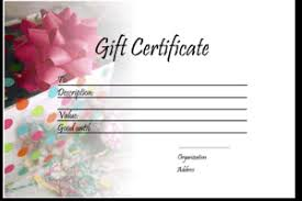 gift certificate template present