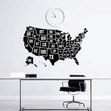 Wall Decal USA AMERICA MAP - Map of the United States Geography Removable  Vinyl Decal Sticker
