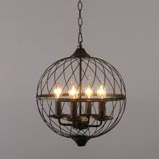 industrial vintage 4 light chandelier with 16 5 w globe metal cage in black