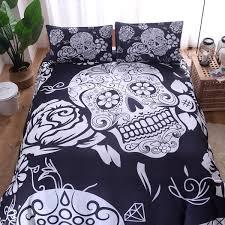 black and white skull bedding set duvet printed bedding set duvet cover and pillow case 200 200 228 228 230 260 flannel duvet quilted duvet cover from