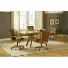 grand bay 5 piece rectangle dining set with caster chairs in um oak hilale furniture