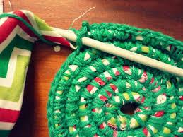 crochet t shirt and yarn rug