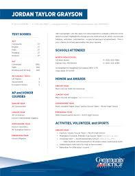 Activities Resume High School Junior Senior Communityamerica