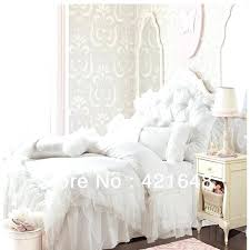 ruffle bedding sets romantic white pink ruffle lace bedding set solid color princess duvet cover set full queen bed set in bedding sets from home garden on