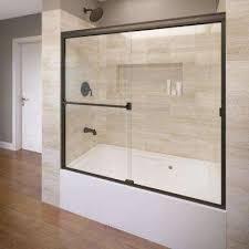 semi framed sliding tub door in oil
