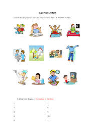 Routines Worksheet for Kids