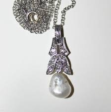 details about antique edwardian diamond baroque pearl pendant 14k white gold 5e34