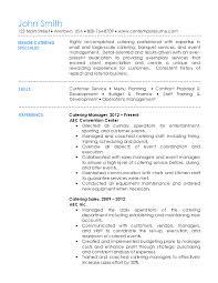 Catering Resume Amazing Catering Resume
