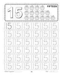 Small Picture Number Writing 15 Printable Coloring Worksheet