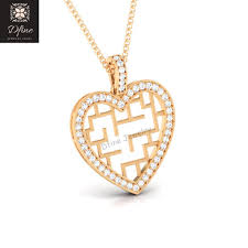 yellow gold puzzle heart pendant
