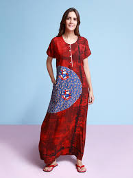 Long Nighty Design Womens Long Nighty In Maroon Color Ember Splash Nightwear