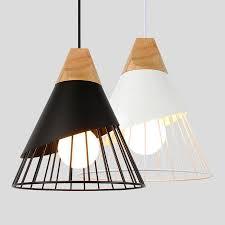 Allegra Wooden Base Iron Cage Hanging Nordic Lamp Luxury Modern