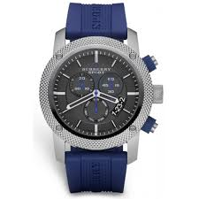 burberry bu7711 men s chronograph blue rubber strap watch