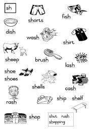 Sh sound words worksheets for kindergarten and first grade. Sh Consonant Diagraphs Esl Worksheet By Joeyb1