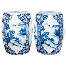 chinese garden stool. Pair Of Blue And White Chinese Porcelain Garden Seats Stool