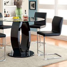 lodia black round glass top counter height table set