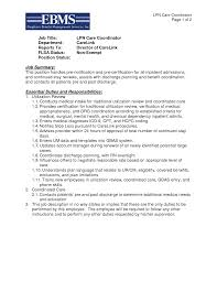 Lpn Care Coordinator Resume Template Essential Duties And