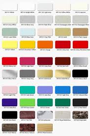Acp Colour Chart Color Chart For Oster