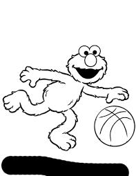 Elmo Speelt Basketbal Kleurplaat Gratis Kleurplaten Printen