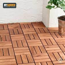 10 x garden wooden tiles interlocking