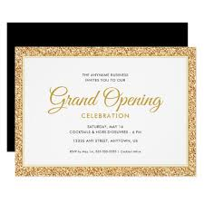 Grand Opening Invitations Gold Faux Glitter Grand Opening Invitation