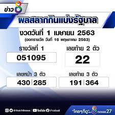 ข่าวช่อง 8 - 🔴ผลสลากกินแบ่งรัฐบาล งวดวันที่ 1 เมษายน 2563 (ออกรางวัล วันที่  16 พฤษภาคม 2563) รางวัลเลขหน้า 3 ตัว ได้แก่ 430 // 285 รางวัลเลขท้าย 3 ตัว  ได้แก่ 191 // 364 รางวัลเลขท้าย 2 ตัว ได้แก่ 22