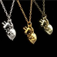 human anatomical heart pendant necklace silver gold biology goth emo gift bag 1 of 1free