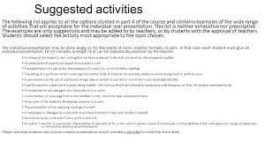 ib part iv iop individual oral presentations topics timeline 7 suggested activities