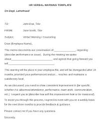 Verbal Warning Template Letter Hr Written Employee Final Attendance