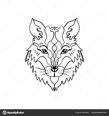 красивая тотем волк фокс богемная хиппи иллюстрация эскизы