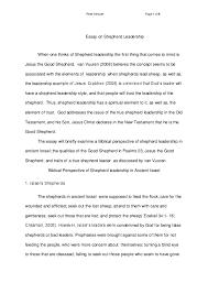 Qualities Of A Good Leader Essay Doc Essay On Shepherd Leadership Peter Stroude Academia Edu