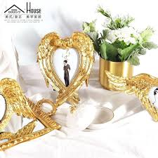 decoration retro golden angel wings heart shaped baroque style photo frame table decoration ornaments in