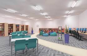 library lighting. This Scheme Is Simplicity Itself \u2013 It Just Uses One Type Of Ceiling-mounted Luminaire. The Unit A Twin Lamp T5 Surface Mount With Gull-wing Upper Library Lighting H