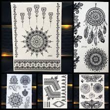 женский черный хна временная татуировка мандала цветок для боди арта татуировка