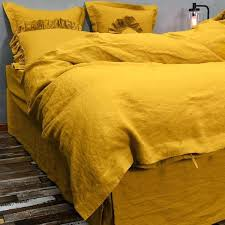 washed linen bedding set curry yellow duvet cover sets uk mustard