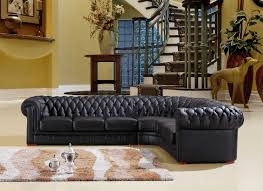 Living Room With Chesterfield Sofa Chesterfield Black Leather Corner Sofa Right Hand Corner Sofa