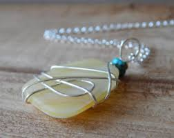 wire wrapped recycled glass pendant. Wire Wrapped Stained Glass Necklace For Women, Sterling Silver, Recycled Jewelry, Yellow Pendant L
