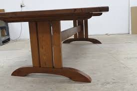 hand made mission style trestle base for dining table by decor 14