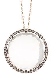 image of suzanne kalan 14k rose gold faceted white quartz pave white sapphire pendant necklace