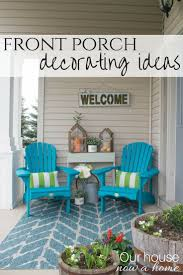 front porch furniture ideas. Spring Front Porch Decorating Ideas. These DIY Wood Adirondack Chairs Painted A Bold Teal Add The Perfect Pop Of Color For This Small Porch. Furniture Ideas S