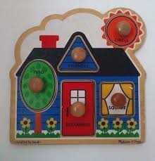 melissa doug wood puzzle wood baby toddler jumbo knob puzzle house first shapes colors melissa and