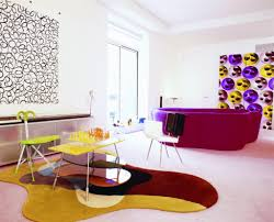 colorful living rooms. Modern Round Sofa In Colorful Living Rooms With Unique Wall Ornaments Under White Ceiling