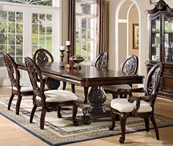 7pc formal dining table chairs set with claw design legs cherry finish