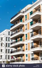 Modern Apartment Building With Round Balconies In Berlin Stock - Modern apartment building facade
