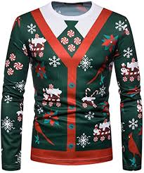 Men's <b>Christmas Tree Print</b> Long Sleeve TopMen's Costume <b>Santa</b> ...