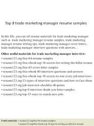 resume sample slideshare top 8 trade marketing manager resume samples in  this file you can ref